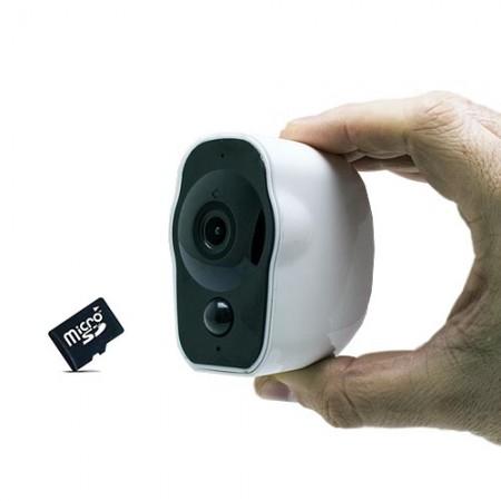Smart caméra alarme WiFi HD 1080P 64Go grand angle avec batterie rechargeable 6 mois détection de mouvement et audio bidirectionnel Intérieure extérieur