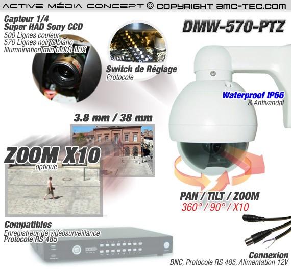 Caméra couleur PTZ pilotable CCD Sony