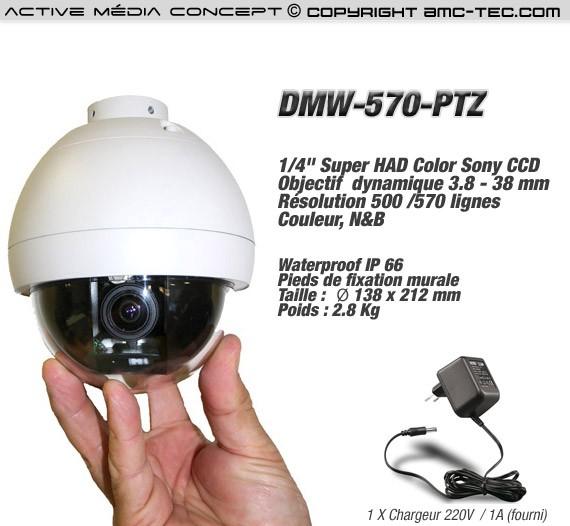 Caméra couleur PTZ pilotable 570 Lignes 3.8 à 38mm waterproof