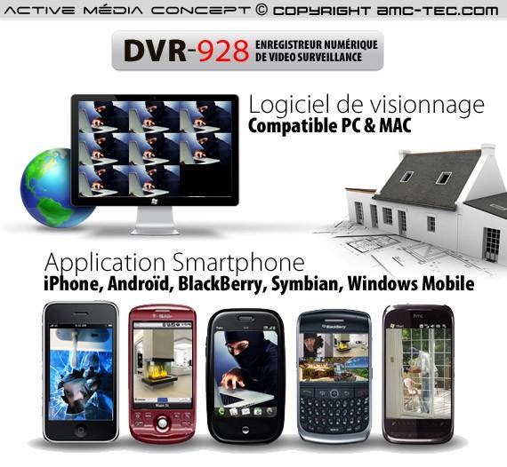 Enregistreur de vidéo surveillance 8 canaux,1 To avec accès sur smartphone et internet