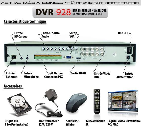 Enregistreur  vidéo surveillance 8 canaux 1 To avec accès sur smartphone et internet