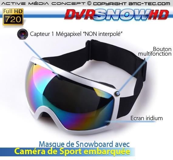 Masque de snowboard caméra