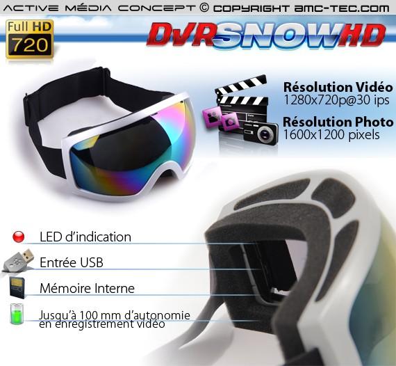 Masque de snowboard caméra HD 720P