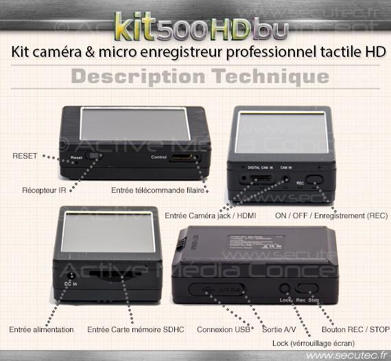 Kit micro caméra enregistreur professionnel HD technique