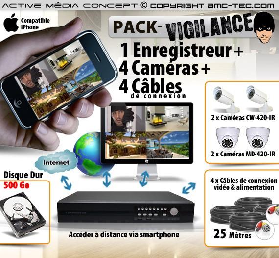 Kit de vidéo surveillance 4 caméras intérieures / extérieures