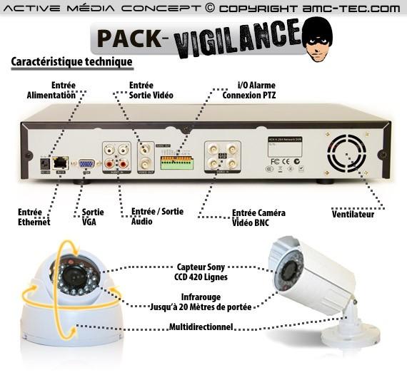 caméra intérieure/extérieure et un enregistreur DVR-924