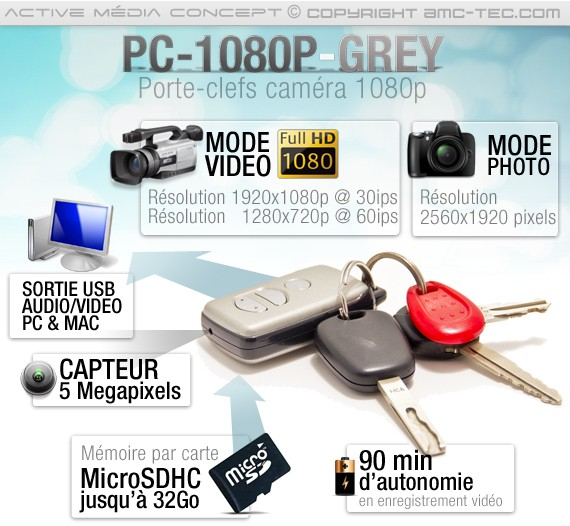 Utilisation Caméra porte clé 5 Mégapixels HD 1080P