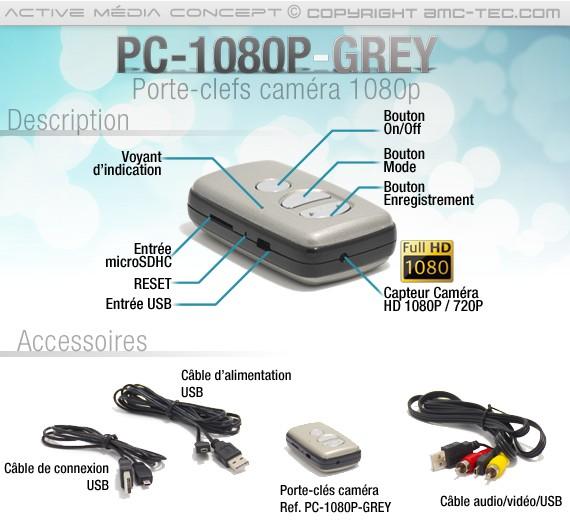 Description Caméra porte clé 5 Mégapixels HD 1080P
