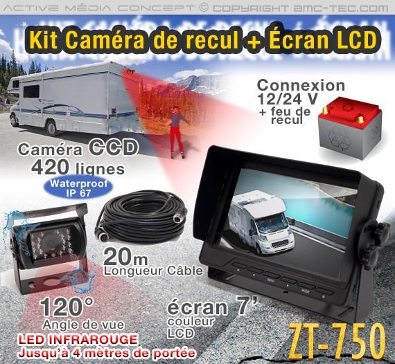 """Caméra couleur infrarouge avec écran LCD 7"""""""