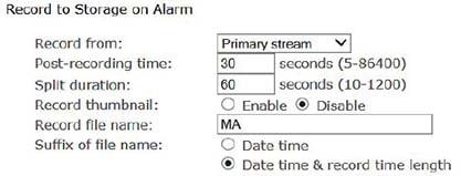 Enregistrement sur alarme