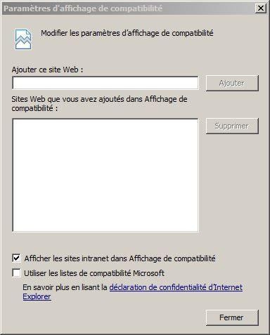 Affichage Compatibilite IE11 liste