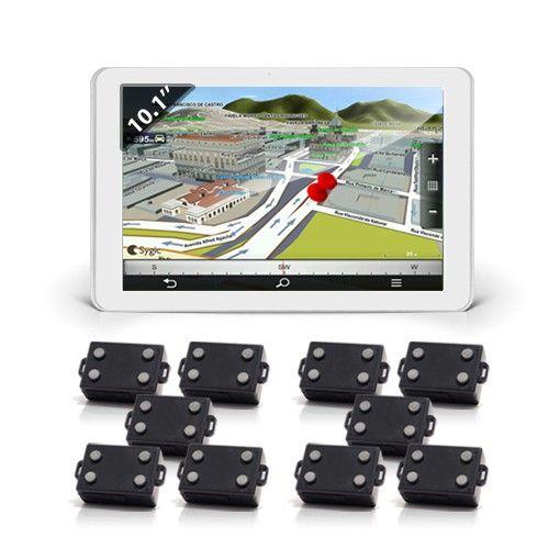Une de nos tablettes avec Nav-Tracking Live lancé et 10 balises TR-LA-700