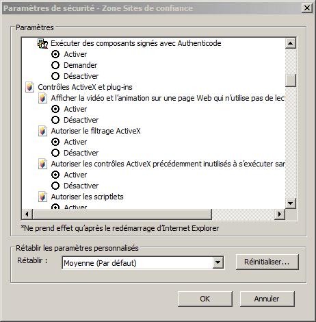 Activez les contrôles ActiveX