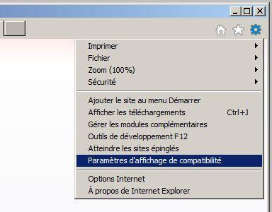 Menu internet explorer 11